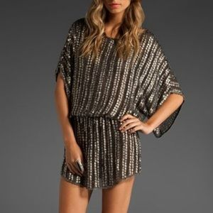Parker Batwing Silk Sequin Peasant Tunic Small